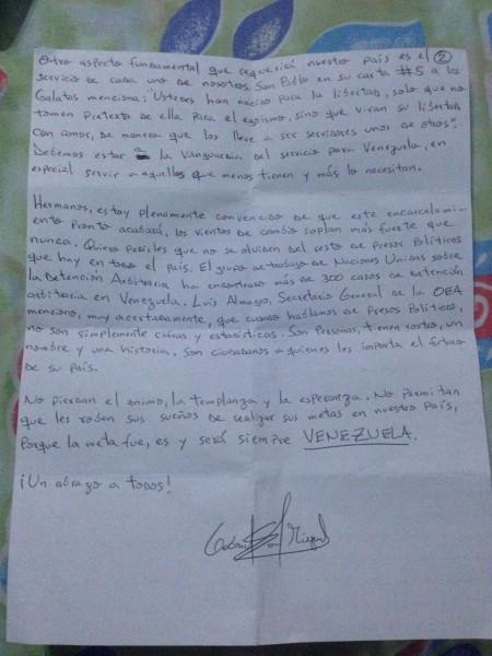 carta de gabriel san miguel a lidera
