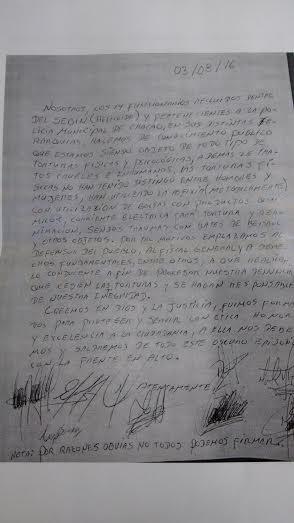 Documento entregado por los familiares de los funcionarios/Foto: PliChacao